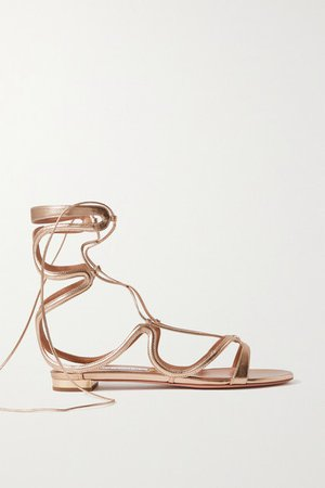 Pompei Lace-up Metallic Leather Sandals - Gold