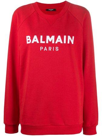 Balmain Logo Print Sweatshirt - Farfetch