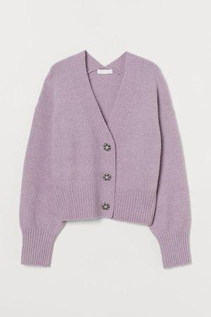 Rhinestone-button Cardigan - Light purple - Ladies   H&M US