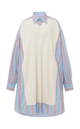 Oversized Layered Striped Cotton Shirt by Maison Margiela | Moda Operandi