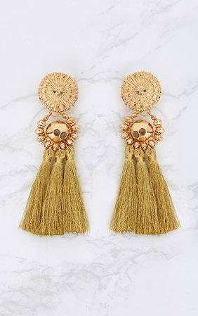 Gold Acrylic Bead Tassel Earring | PrettyLittleThing