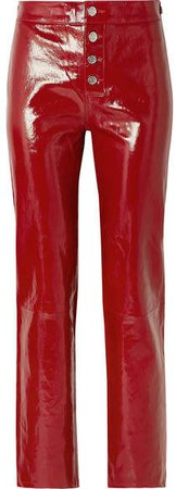 Max Patent-leather Straight-leg Pants - Red