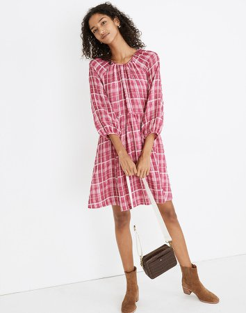 Plaid Shirred Babydoll Mini Dress