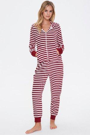 Striped Hooded Pajama Jumpsuit