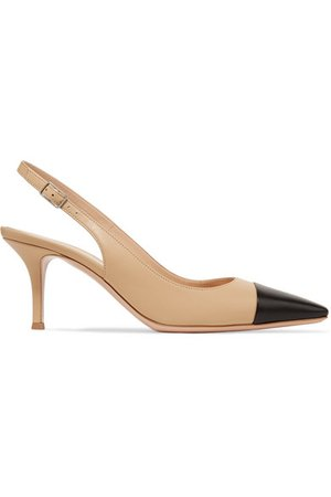 Gianvito Rossi | Lucy 70 two-tone leather slingback pumps | NET-A-PORTER.COM