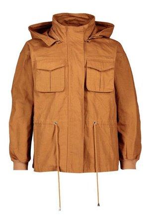 Hooded Utility Jacket | Boohoo brown