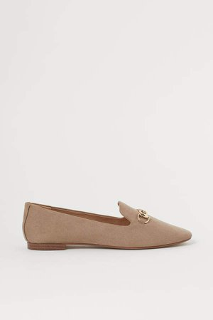 Buckled Loafers - Beige