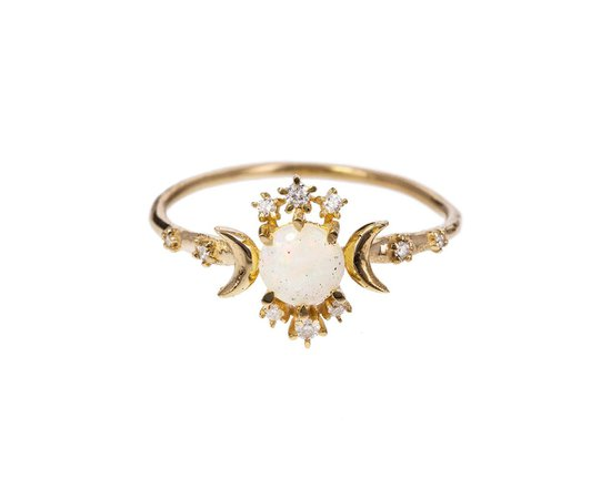 gold diamond opal wandering star ring