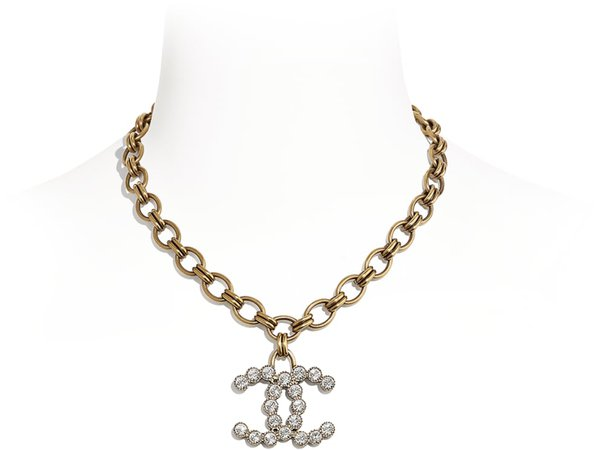 Necklace, metal and strass, gold and glass - CHANEL