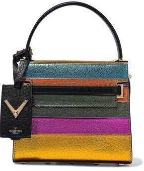 Garavani My Rockstud Color-block Metallic Textured-leather Tote