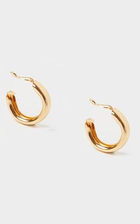 Gold Small Chunky Tubular Hoop Earrings | PrettyLittleThing