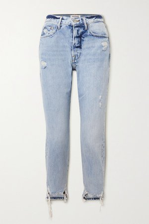 Le Original Distressed High-rise Straight-leg Jeans - Light denim