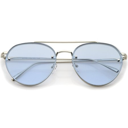 Retro Modern Rimless Flat Color Lens Aviator Sunglasses - zeroUV