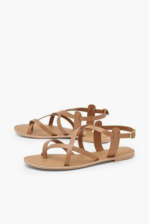 Leather Cross Strap Sandals | boohoo
