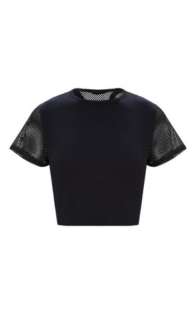 Black Fishnet & Jersey Crop Top. Activewear   PrettyLittleThing USA