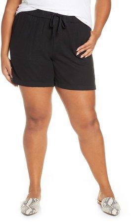 Drawstring Linen Blend Shorts