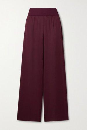 Silk Crepe De Chine Wide-leg Pants - Burgundy