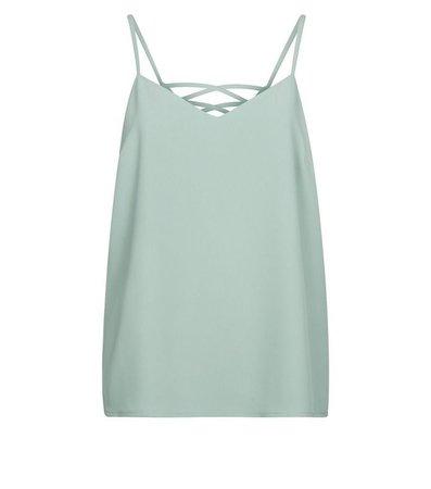 Mint Green Lattice Back Cami   New Look
