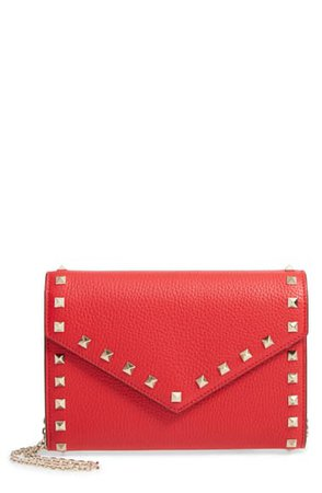 Valentino Garavani Rockstud V-Flap Calfskin Leather Wallet on a Chain | Nordstrom