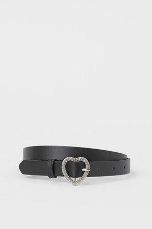 Rhinestone buckle Belt - Black - Ladies   H&M US