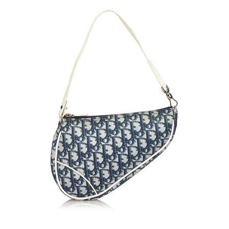 Vintage DIOR Monogram Mini Saddle Bag, Blue - Luxury Locker