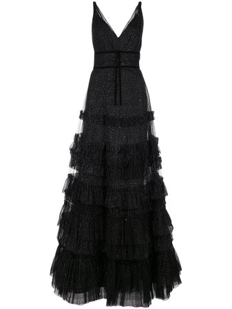 Marchesa Notte, Ruffled Glitter-Embellished Gown