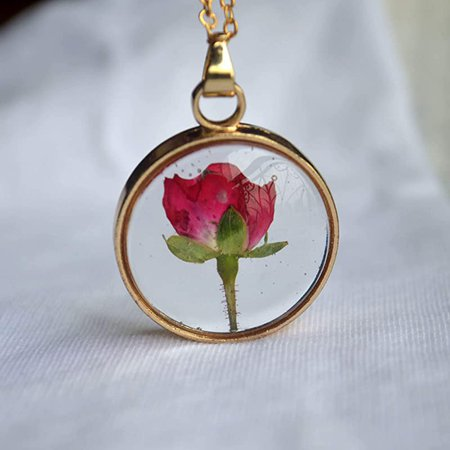 Amazon.com: Red Rose Real Flowers Floating Locket 18k Gold Plated Chain Long Necklace: Handmade