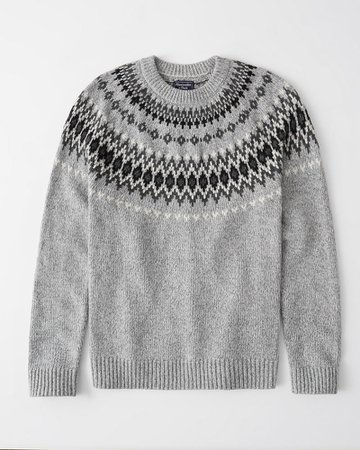 Mens Fair Isle Crewneck Sweater | Mens Tops | Abercrombie.com