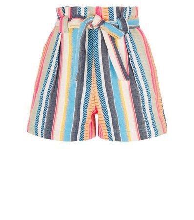 Pink Vanilla Multicoloured Stripe Paperbag Shorts | New Look