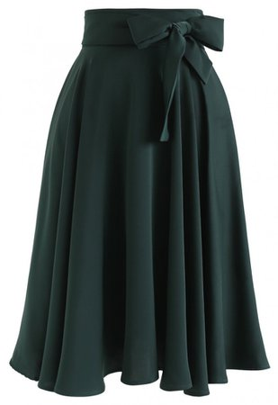 Flare Hem Bowknot Waist Midi Skirt in Emerald - Skirt - BOTTOMS - Retro, Indie and Unique Fashion