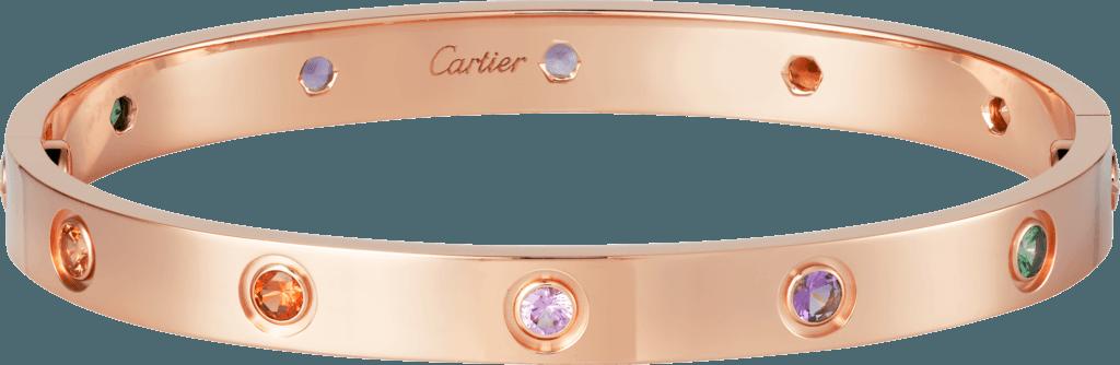 LOVE bracelet Pink gold, sapphires, garnets, amethysts