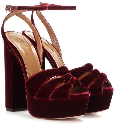 Velvet platform sandals