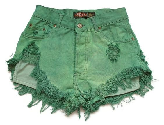 Ripped Distressed Green Denim Shorts