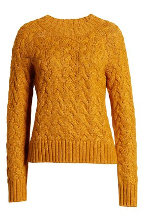 Lucky Brand Quinn Cable Knit Sweater brown