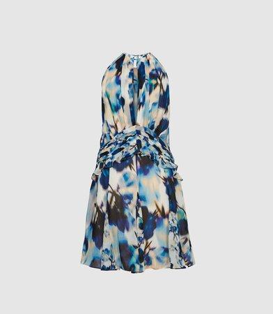 Belle Blue Printed Ruffle Mini Dress – REISS