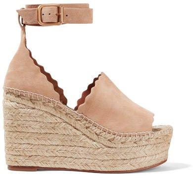 Scalloped Suede Espadrille Wedge Sandals - Beige