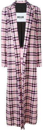 checked long coat