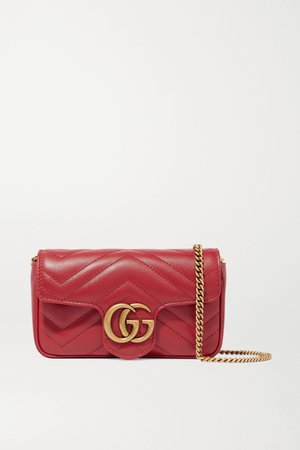 Red GG Marmont super mini quilted leather shoulder bag | Gucci | NET-A-PORTER