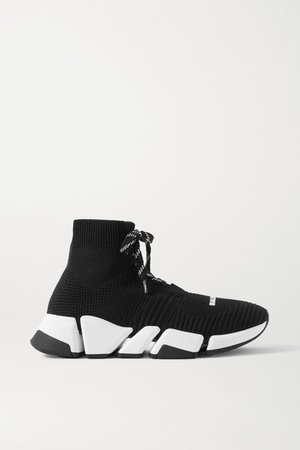 Speed 2.0 Stretch-knit High-top Sneakers - Black