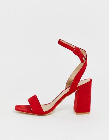 RAID Wink bright red square toe block heeled sandals   ASOS