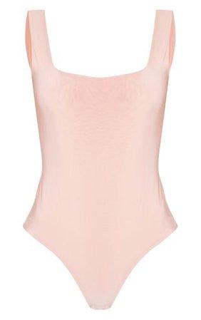 Dusty Pink Square Neck Sleeveless Bodysuit | PrettyLittleThing USA