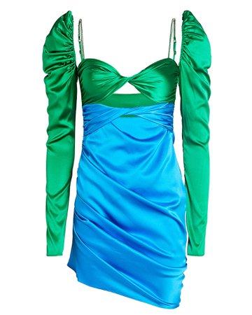 The Bar Silk Twist Front Mini Dress | INTERMIX®