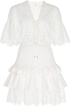 Prado Lace-Up Broderie Anglaise Mini Dress