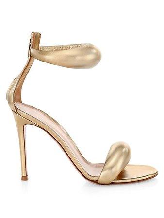 Gianvito Rossi Bijoux Ankle-Strap Metallic Leather Sandals | SaksFifthAvenue