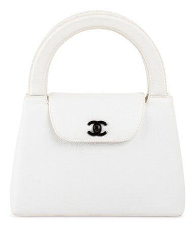 CHANEL White Kelly Top Handle Handbag