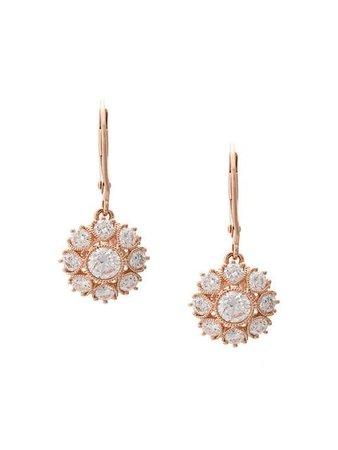 Marchesa 18kt Rose Gold Floral Diamond Drop Earrings - Farfetch