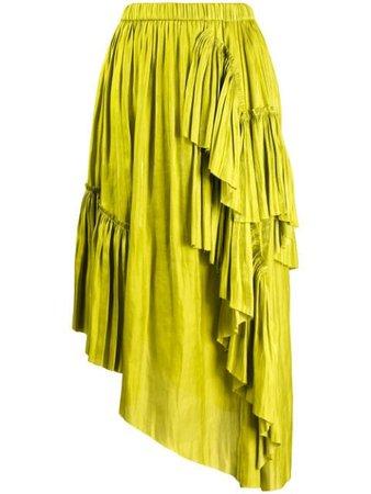 Marques'almeida Ruffled Asymmetric Skirt SS20SK0107LWS Green | Farfetch