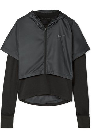 Nike | Therma Element layered stretch-jersey and shell hooded top | NET-A-PORTER.COM