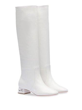 Miu Miu Madras Crystal Embellished Boots 5W653CF035034 White | Farfetch
