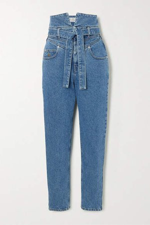 The Belted High-rise Straight-leg Jeans - Blue